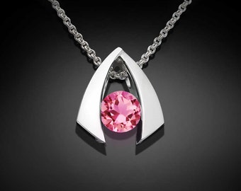 pink topaz necklace, pendant necklace, wedding necklace, Argentium silver, modern pendant, birthday gift, christmas gift, for her - 3424