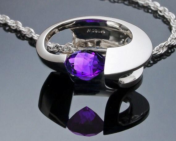 amethyst necklace, statement necklace, February birthstone, silver pendant, amethyst pendant, fine jewelry, modern jewelry - 3394