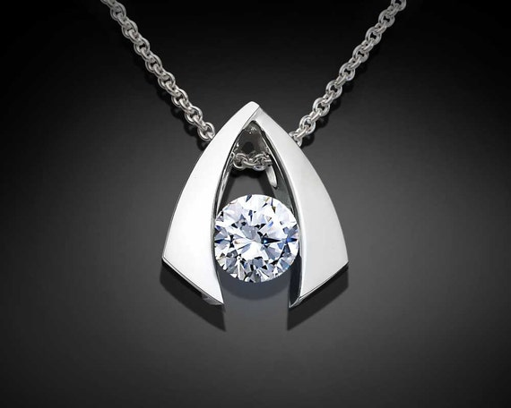 silver pendant necklace, CZ necklace, wedding necklace, sparkly necklace, designer jewelry, Argentium Silver, birthday gift, for her - 3424