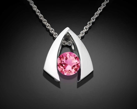 pink topaz necklace, pink topaz pendant, wedding necklace, Argentium silver, modern pendant, birthday gift, delicate necklace - 3424