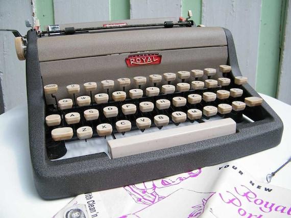 Vintage Typewriter Royal Aristocrat with Case and Manual 1950s