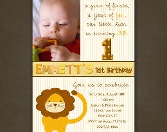 Lion Birthday Invitation, Printable File, Photo