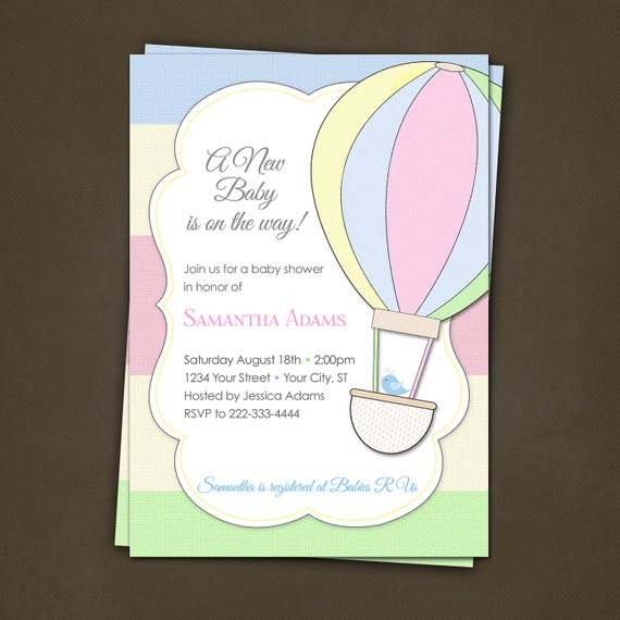 Items similar to Hot Air Balloon Baby Shower Invitations Printable