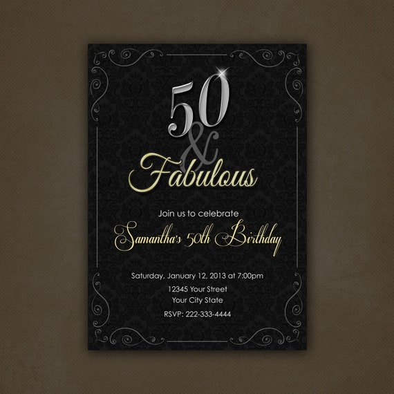 50 Abd Fabulou: Items Similar To Silver And Gold 50 And Fabulous Birthday