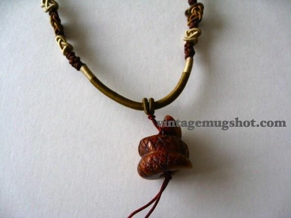 Vintage  Carved Snake  Necklace Adjustable Asian Beautiful