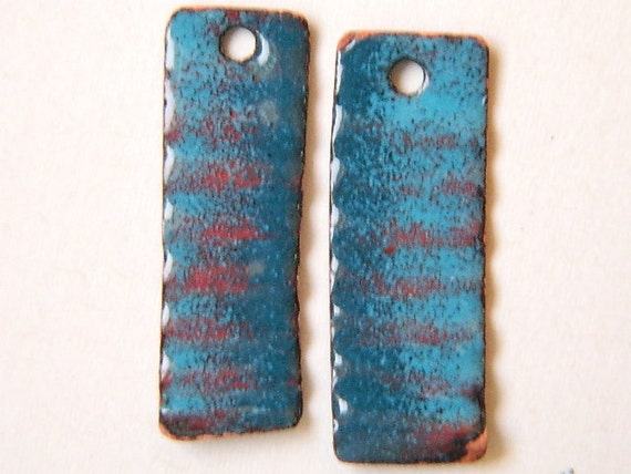 Turquoise and Teal Enameled Earring Components