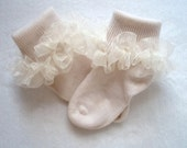 Ivory Sheer Organza Ruffled Ribbon Socks