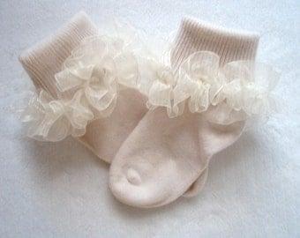 Ivory Sheer Organza Ruffled Ribbon Socks