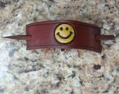 Smiley Face Leather Stick Barrette