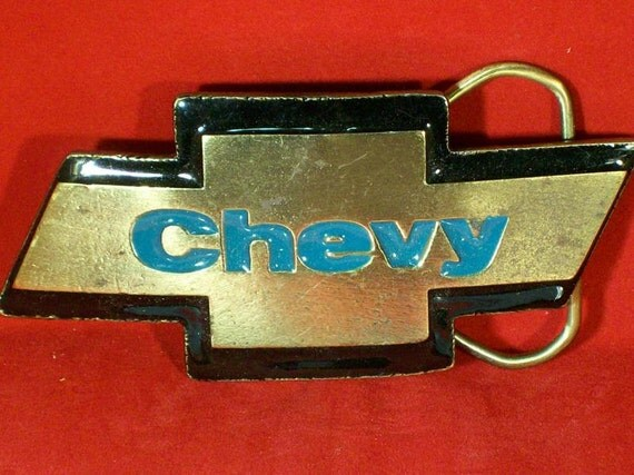 Vintage Chevy Logo Trophy Belt Buckle by legacyleathercraft