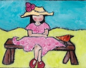 Sitting in the park original painting painted on wood 9x6.5 Illustration