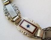 Vintage 40s WWII US Army Forget Me Not Sterling Silver & Enamel Sweet Heart Service Flag Bracelet
