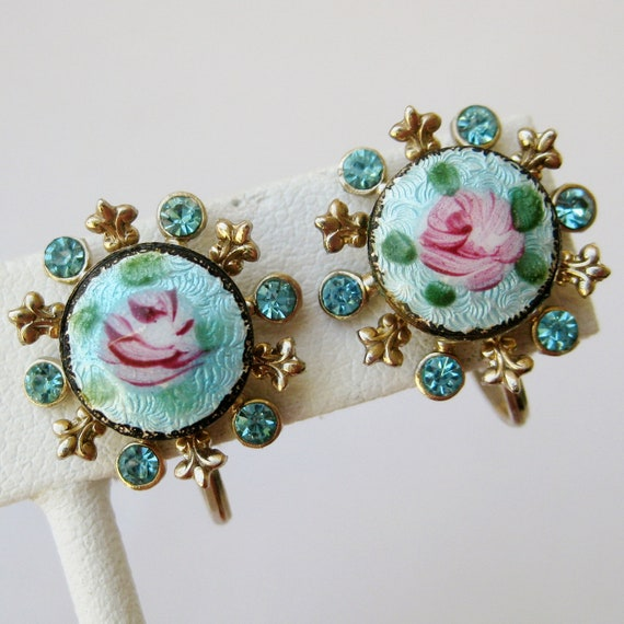 Vintage 40s French Guilloche Enamel Blue & Pink Roses Gold Rhinestone Screwback Earrings