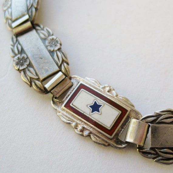 Vintage 40s WWII US Army Forget Me Not Sterling Silver & Enamel Sweet Heart Service Flag Bracelet