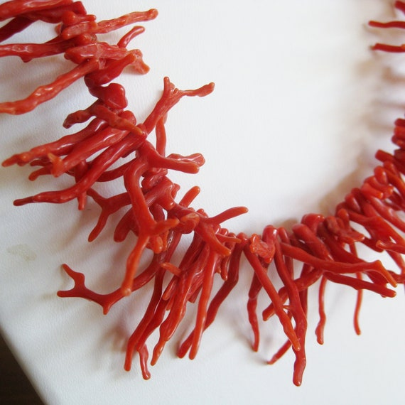 Antique Victorian Long Red Branch Coral Exotic Necklace
