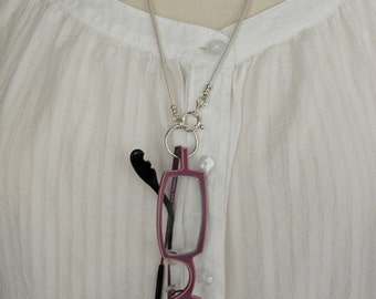 Eyeglasses Holder, LoopM, Sterling Silver Loop, Clasp, Crimps on White Leather Neck Cord, Readers Keepers, 24 in.