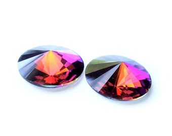 LAST PAIR Rare Vintage Swarovski Crystal Earrings 14mm Rainbow Special FX