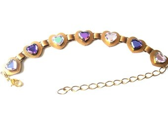 Purple Crystal Heart Bracelet