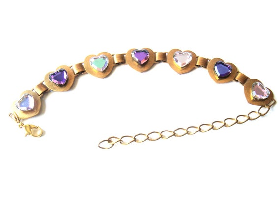 Purple Crystal Heart Bracelet