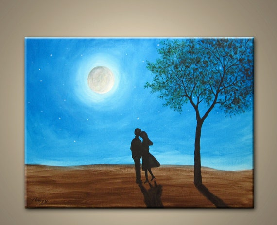 kissing in moon night- original modern painting,24x18inch, ready to hang,wedding gift,ON SALE