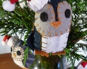 Assorted Penguin Christmas Ornaments - 3 Inch Tall Plush Penguin Ornament Made From Re-Purposed and Salvaged Fabrics