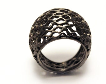 Black modern honey bee ring designed in sterling silver