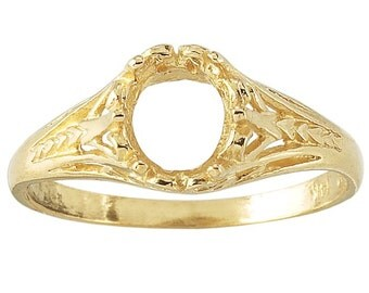 14K Yellow Gold 7 x 5mm Oval Ring Mounting