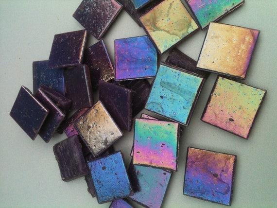 Deep Blue PURPLE Glass Mosaic Tile 3/4 x 3/4 Italian glass 25 pcs