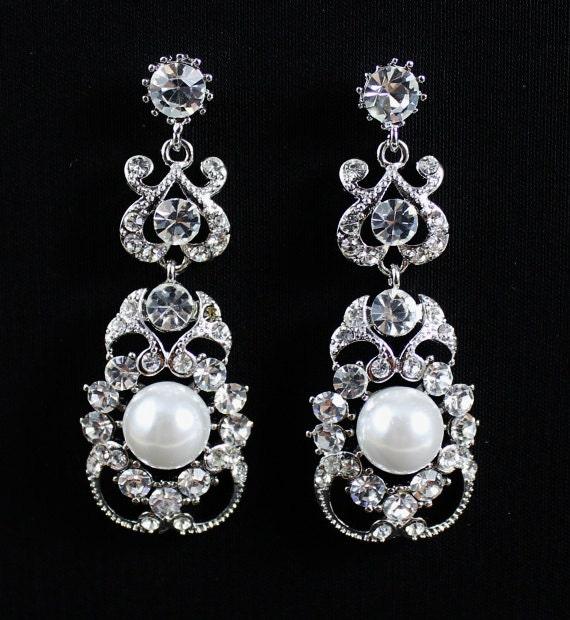 Crystal Vintage Wedding Earrings, Crystal & Pearl Bridal Earrings, Wedding Jewelry, Crystal Bridal Jewlery, PARIS
