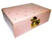 1950s Vintage Jewelry Box in Pink with Fleur de Lis and Satin lining