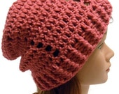 Crochet Slouchy Beanie Textured Hat in Pink