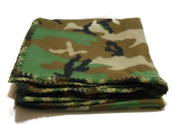 Fleece Jungle Camouflage Throw Blanket With Camouflage Crochet