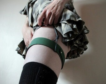 Handmade Real Leather Garter Belt - green - steampunk - burning man - apocalypse - mad max, Please read Description for size