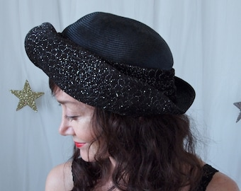 1980's Hat Oscar De La Renta Designer Black Straw and Silver Sparkle Hat
