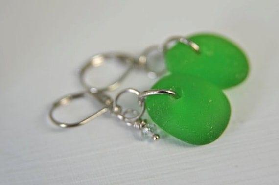 Green Sea Glass Earrings Emerald Green