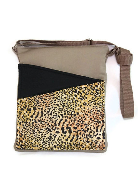 Leopard cross body purse iPad travel bag safari animals, beige fabric, messenger,Africa