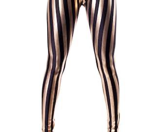 Black & Gold Stripe Leggings