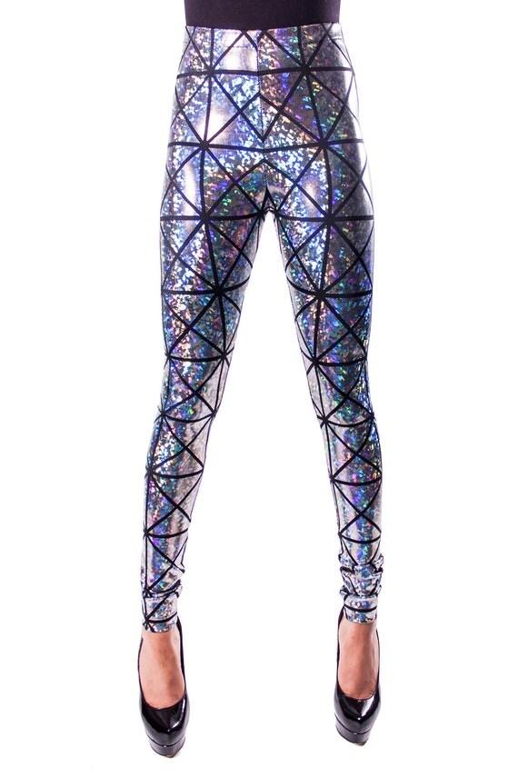 Silver & Black Hologram Disco Leggings