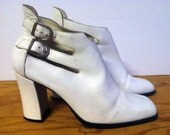 Mod White Leather Booties, Double Buckles, 7.5 (womens US)