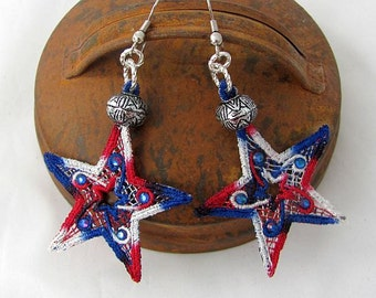 Red White and Blue Earrings  - Lace Star Earrings - Dangle Lace Earrings