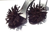 "Chocolate Brown Flower Leather Suede Shoe Clips 3.5"" Hand Made by Zulya"