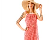 Picnic on the Prairie, Red Gingham Eyelet Maxi Dress--S/M