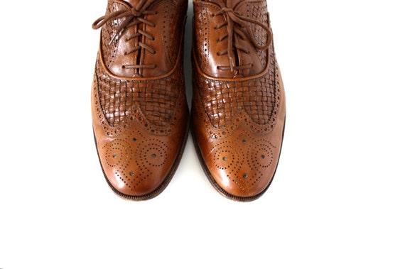 Vintage Men's Brown Basket WEAVE Wingtip Dress Shoe Size 11 1/2