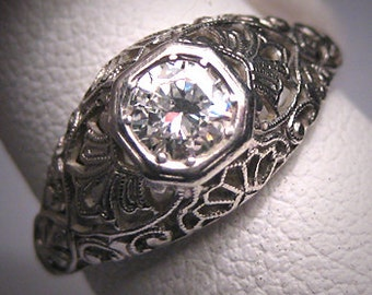 Platinum Antique Diamond Wedding Ring Vintage Art Deco