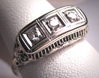Antique 3 Diamond Wedding Ring Band Vintage Victorian