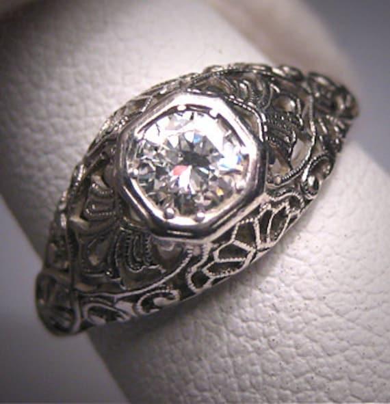 Platinum Antique Diamond Wedding Ring Vintage Art Deco