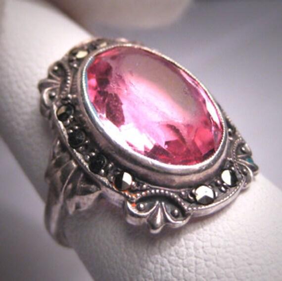 Antique Pink Sapphire Ring Vintage Marcasite Wedding Victorian Art Deco