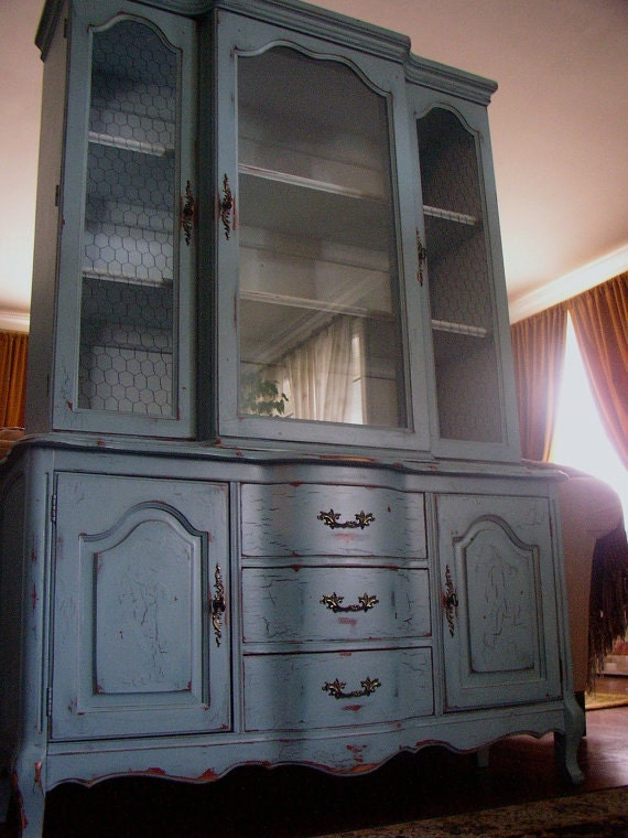 French Country Hutch In Antiqued French Blue - French country blue