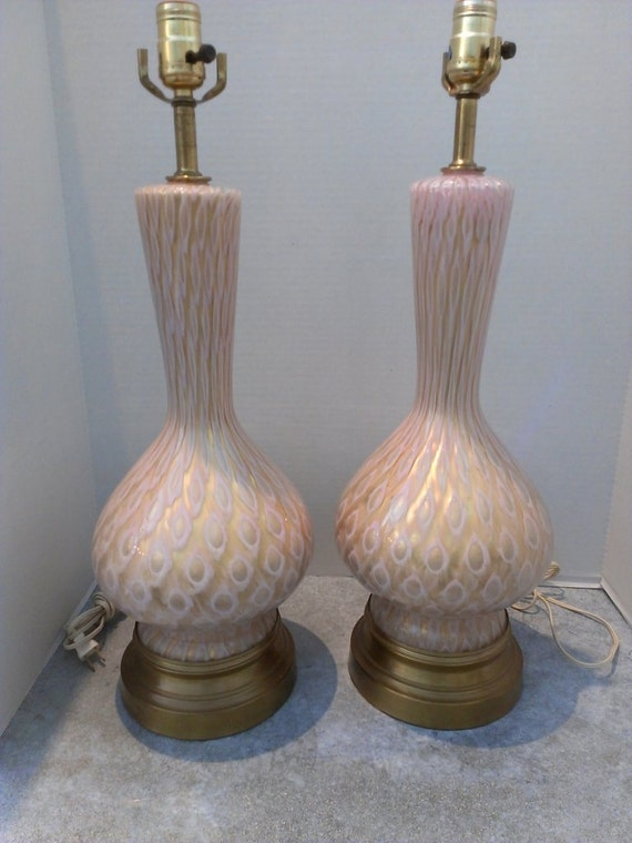 Pair Hollywood Regency Murano Glass Lamps