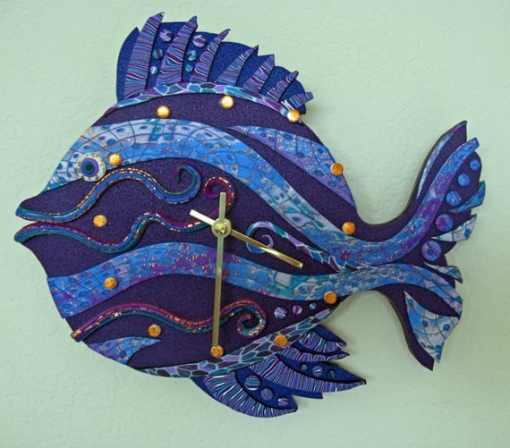 Fish Clock Or Wall Art Sculpture In Purple Blue And Violet